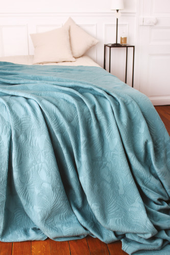 Ref GINKGO - Dessus de lit tissu armure? - 100% coton