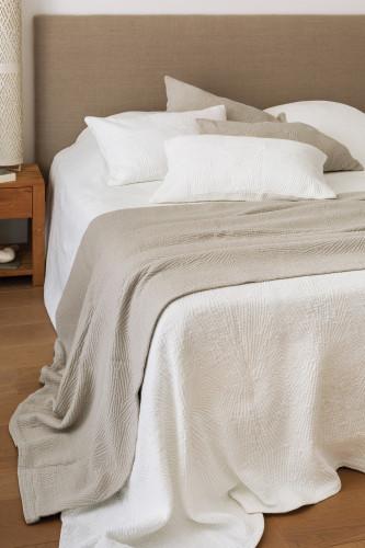 Ref TOSCANE - Dessus de lit  stonewashed 100% coton