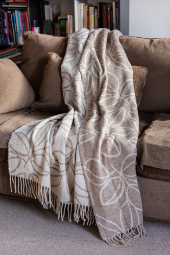 Plaid jacquard laine mélangée motif feuilles