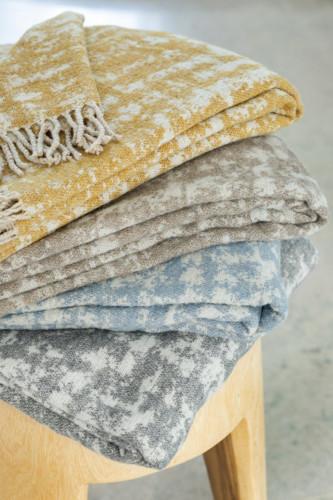 Plaid jacquard laine mélangée motif pieds de coq