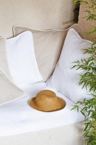 Toison d'or - Housse d'oreiller carrée en piqué de coton motif jacquard