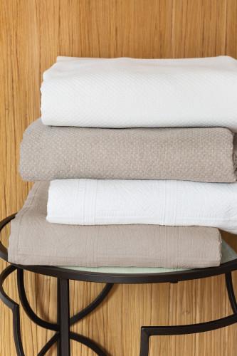 Housse d'oreiller carrée en piqué de coton motif jacquard, 80% coton 20% polyester