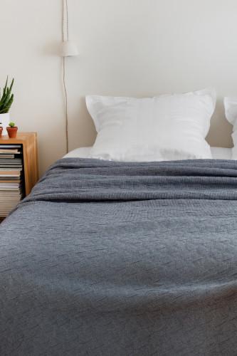 Dessus de lit jacquard effet plissé avec fines rayures