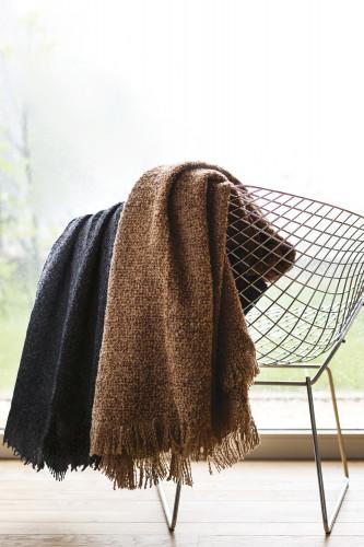 Plaid alpaga laine et soie effet Tweed