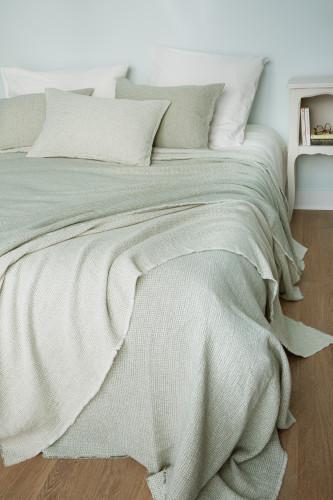 Dessus de lit en tissu jacquard, motif pointillé
