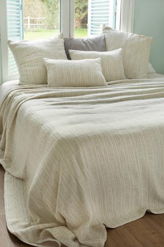 Dessus de lit en tissu jacquard avec fil flammé bicolore, motif rayures