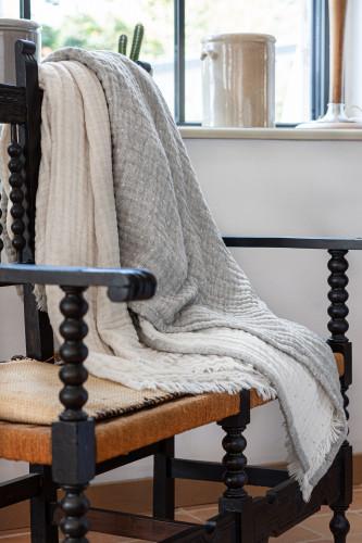Toison d'or - Plaid réversible en gaze de laine et coton motif pointillés