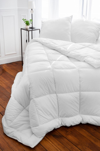 Ref CASTOR 200 - couette sante coton,enveloppe percale 100% coton traitee ULTRAFRESH